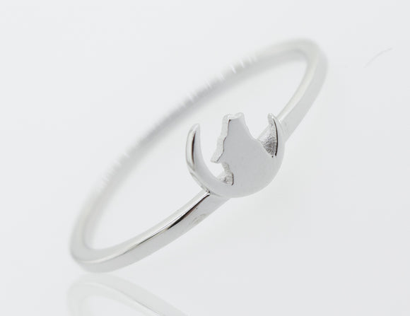 Howling Wolf On Crescent Moon Ring