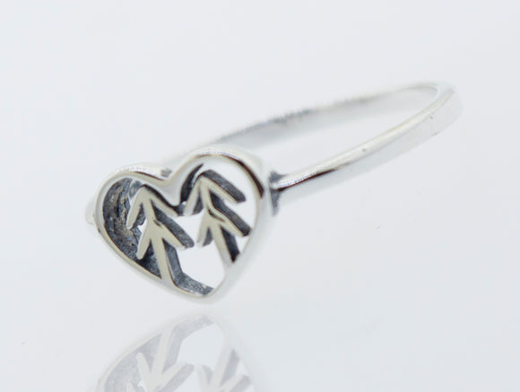 Heart With Trees Silver Ring