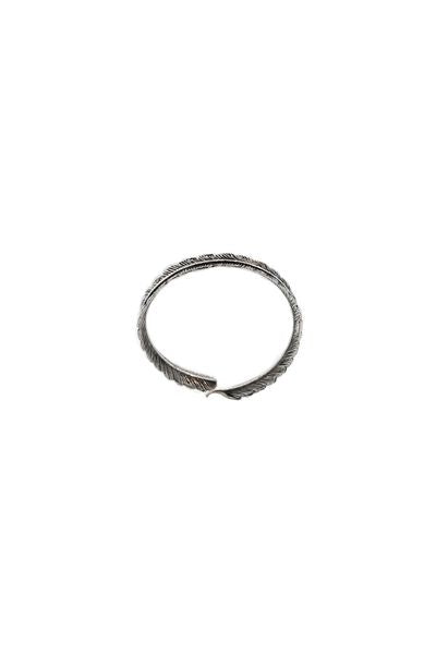 Oxidized Feather Bangle Bracelet