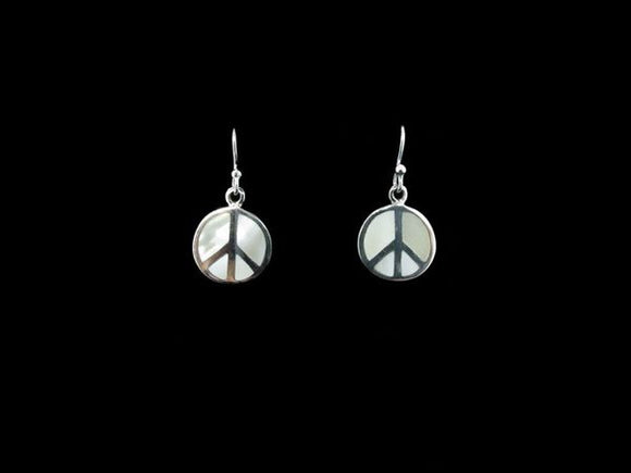 Mother Of Pearl Peace Dangle Earrings