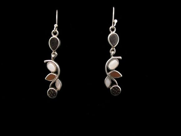 Mother Of Pearl Dangle Earrings Multiple Stones with Wood