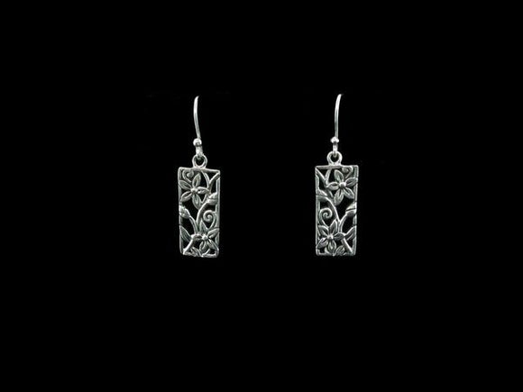 Silver Rectangular Dangle Earrings w/ Flower Open