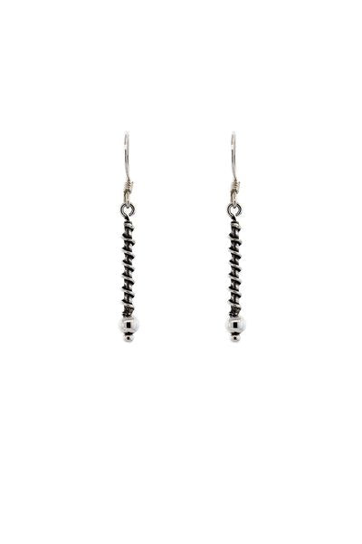 Sterling Silver Bali Coil Wrapped Bar Earrings