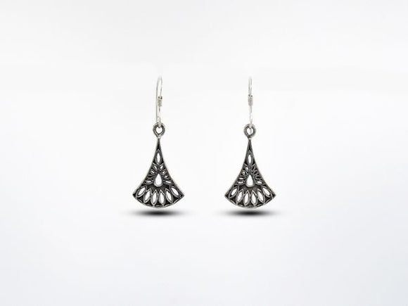 Fan Shaped Earrings With Open Marquise and Teardrop Design