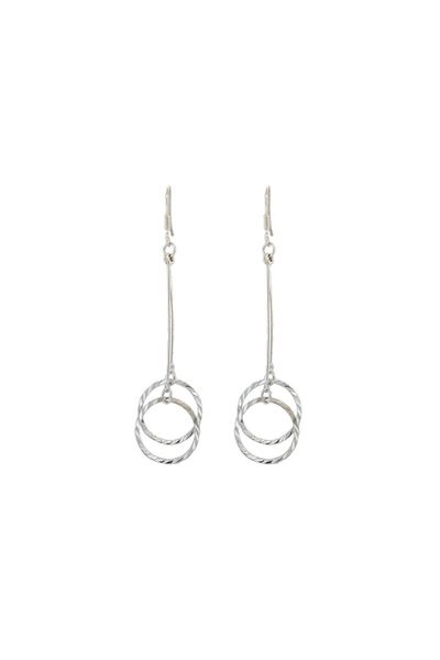 Rhodium Long Circle Earrings