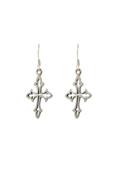 Ornate Silver Cross Earrings
