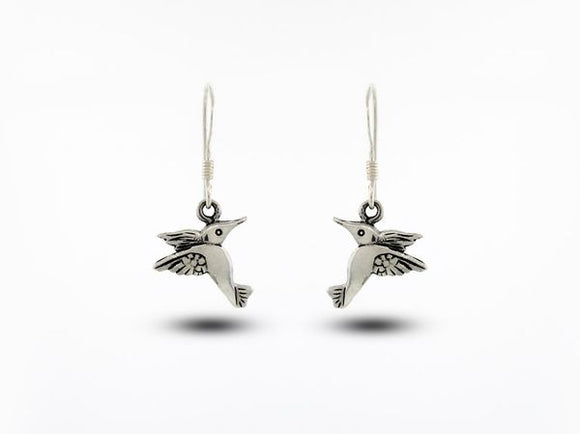Sterling Silver Hummingbird Earrings Solid Design