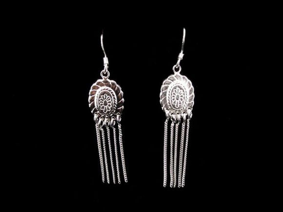 Oval Flowers Silver Dangle Earrings