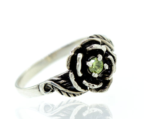 Rose Ring With Green CZ Stone
