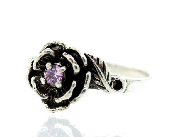 Rose Ring With Pink CZ Stone