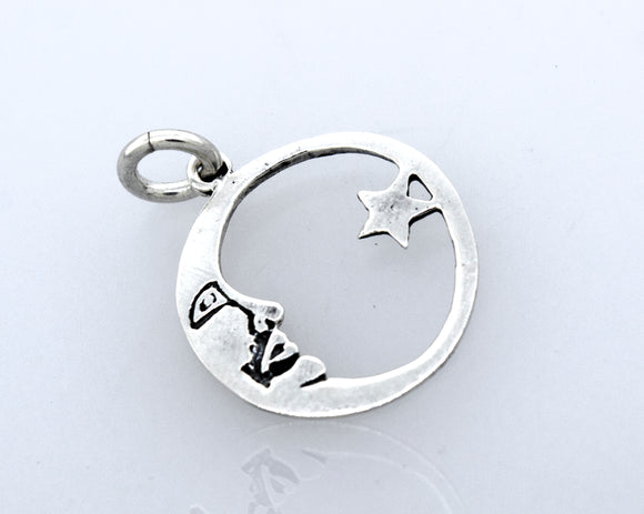 Crescent Moon Cradling a Star Pendant