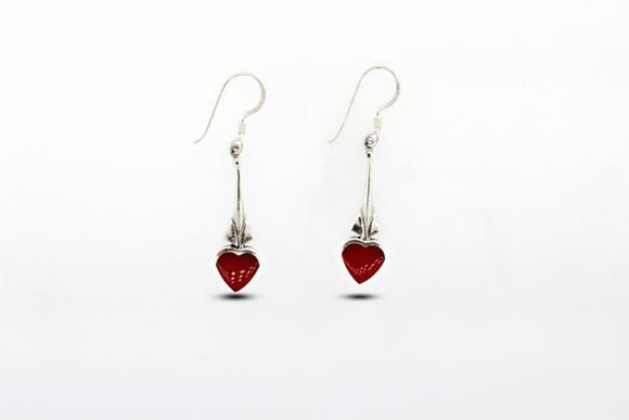 Exquisite Heart Shaped Coral Earrings