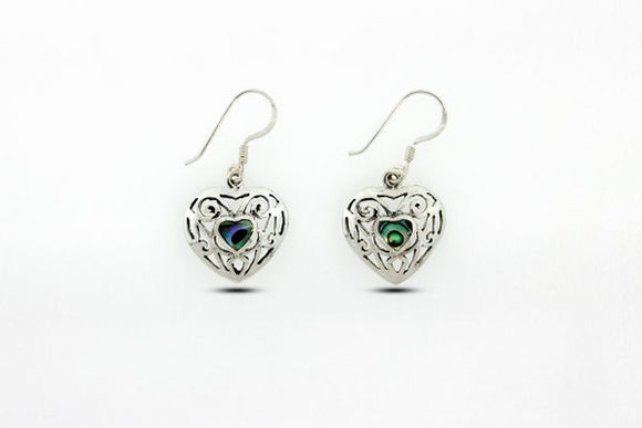 Elegant Heart Shaped Abalone Earrings