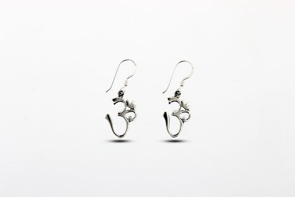 Sterling Silver Om Dangle Earrings