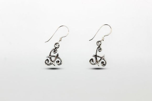Sterling Silver Celtic Triple Spiral Dangle Earrings