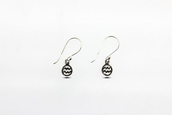 Sterling Silver Dangle Earrings with Aquarius Zodiac Symbol