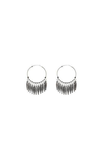 Silver Hoops with Feathers