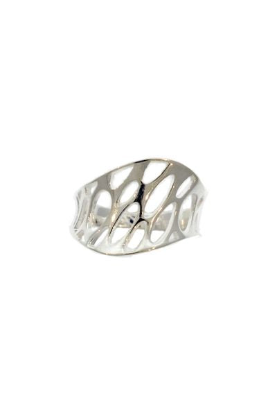 Silver Concave Web Dome Ring