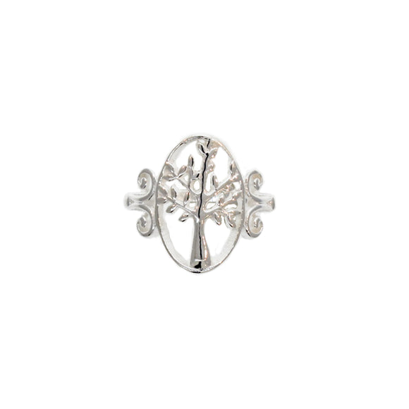 Elegant Silver Tree Ring with Oval Setting