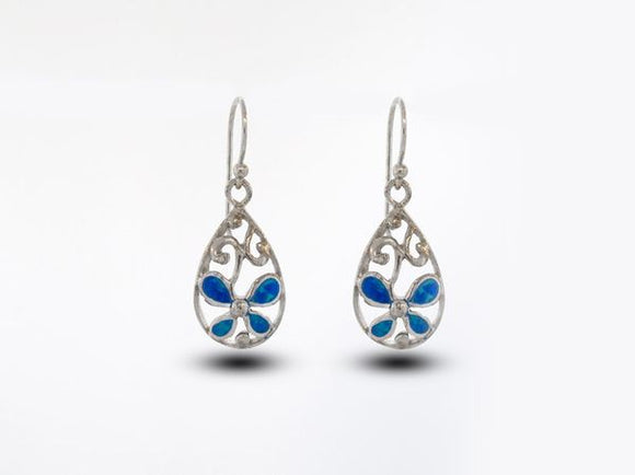 Blue Opal Teardrop Earrings With Flower Design