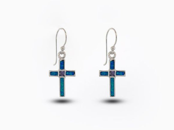 Blue Opal Cross Earrings With Amethyst Center Stone