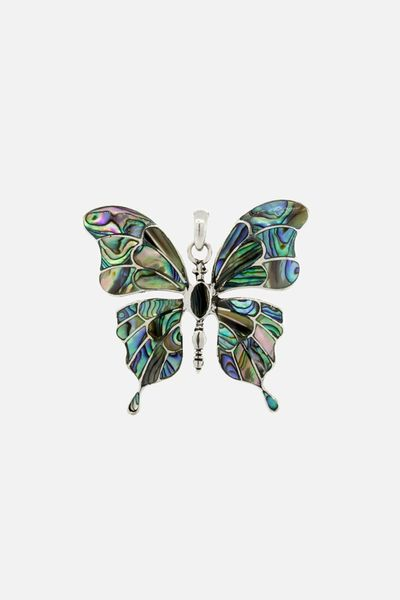 Large Abalone Inlaid Butterfly Pendant