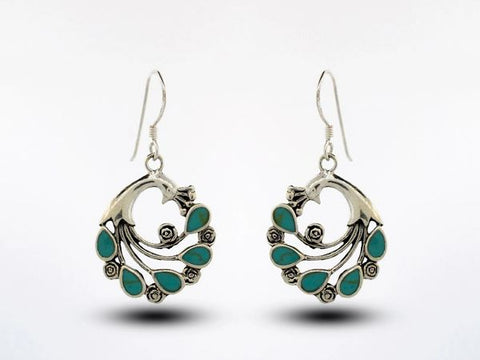 Peacock Earrings With Teardrop Shaped Turquoise Feathers
