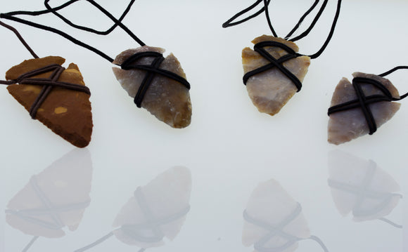 Arrowhead Pendant wrapped with Cord Necklace