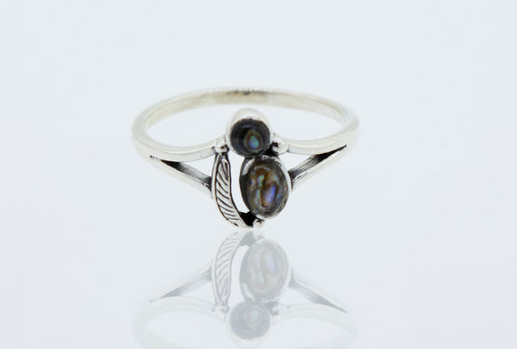 Abalone Ring with Feather