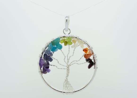 Wire-Wrapped Chakra Tree of Life Pendant