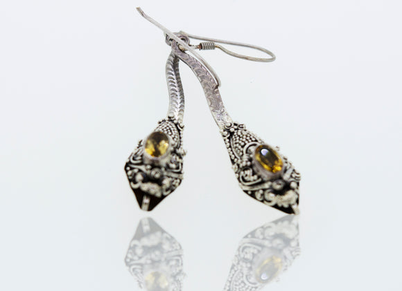 Citrine Bali Snake Earrings