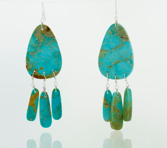 Native American Made Raw Turquoise Dangle Earrings