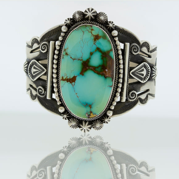 Exclusive Native American Handmade Turquoise Bracelet Designed by Aaron Toadlena