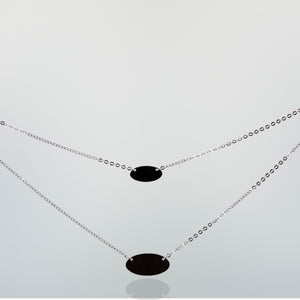 Elegant Sterling Silver Necklace with Two Oval Discs Pendants
