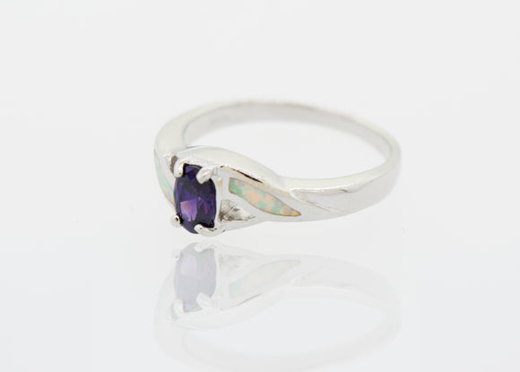 Created Opal and Purple Cubic Zirconia Ring