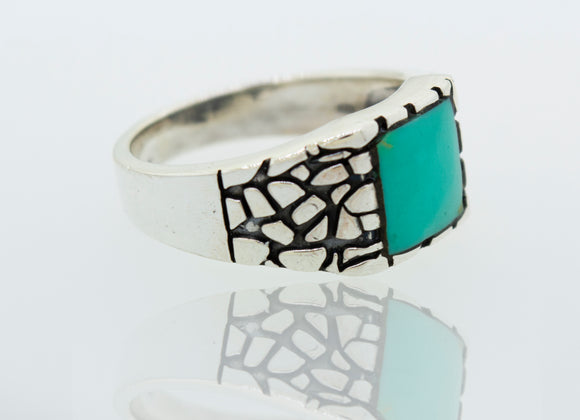 Heavy Turquoise Band with Dragon Scale Pattern