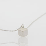 Beautiful Sterling Silver Cable Link Necklace with 3-Dimensional Cube Pendant