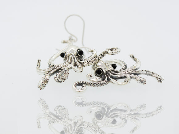 Designer Octopus Earring with Onyx Eyes