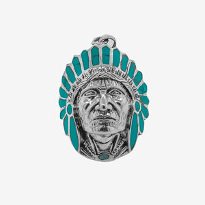 Chief Head Pendant with Turquoise Headdress