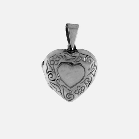 Small Heart Shaped Locket with Flower
