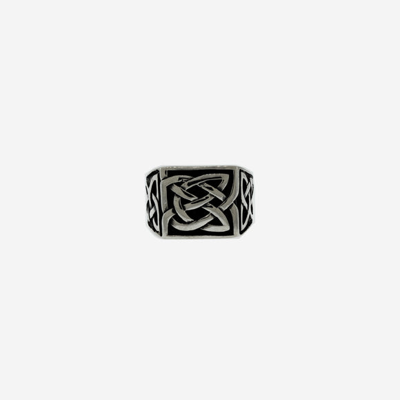 Sturdy Silver Ring with Celtic Knot Design
