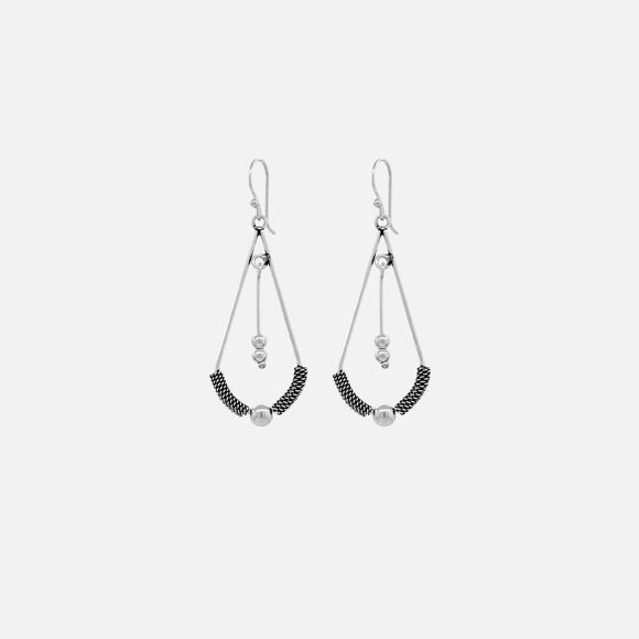 Drop Bali Triangle Hoop Earrings with a Tassel