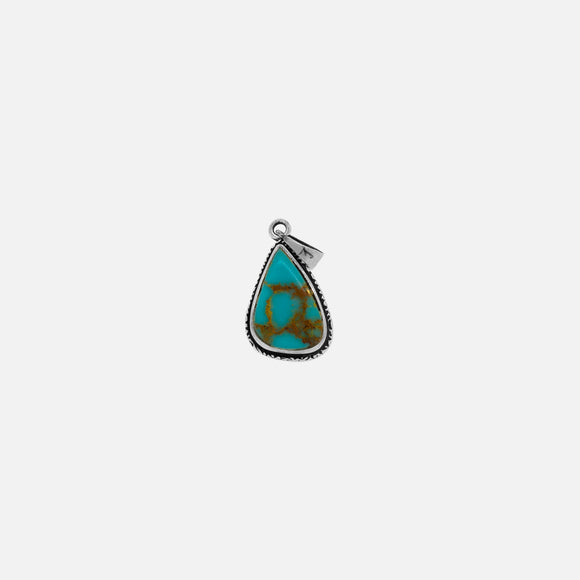 Irregular Teardrop Bisbee Turquoise Pendant with Etched Border