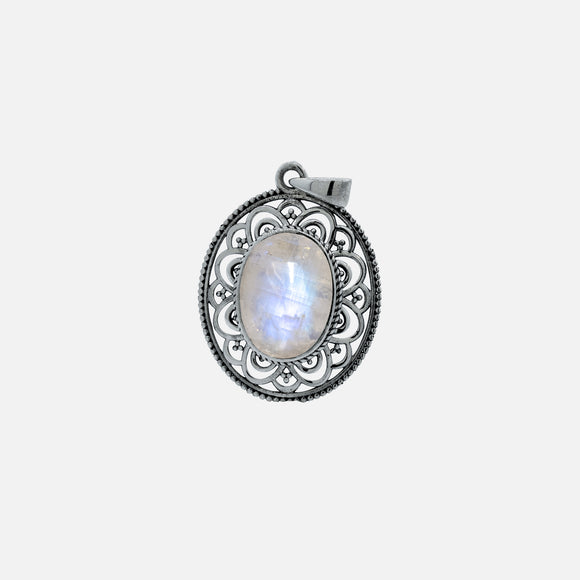 Oval Moonstone Pendant with Filigree Border