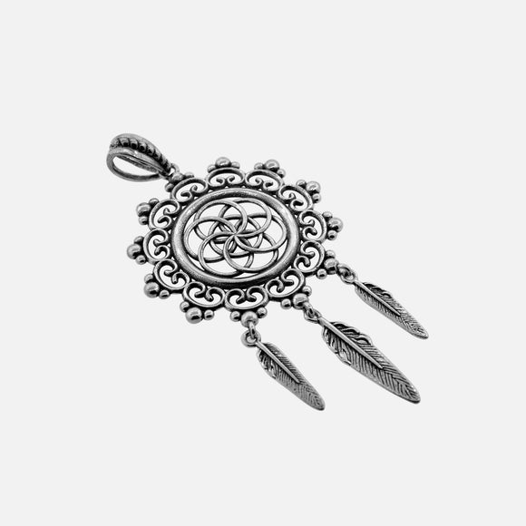 Dream Catcher Pendant with Interlocking Circle Pattern and 3 Feather Tassels