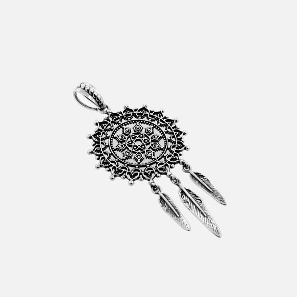 Dream Catcher Pendant with Sun Pattern and Feather Tassels