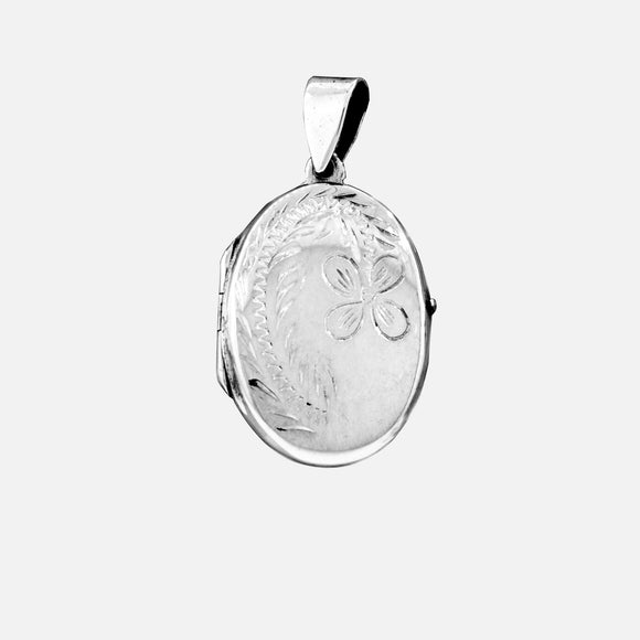 Oval Silver Locket with Flower Design