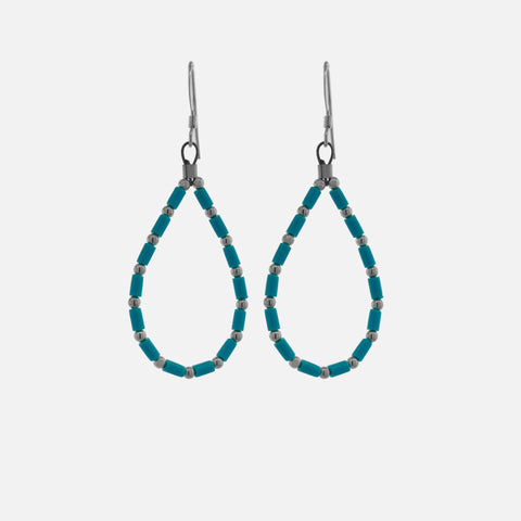 Native American Silver and Turquoise Beaded Drop Earrings