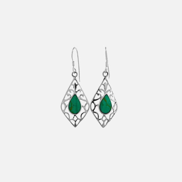 Open Filigree Diamond-Shaped Turquoise Earrings