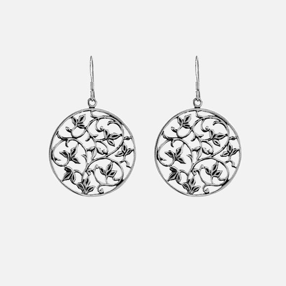 Open Vine Pattern Drop Earrings